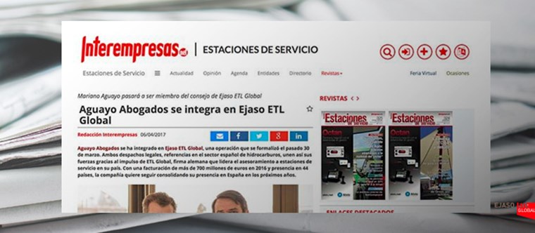 Aguayo Abogados se integra en EJASO ETL GLOBAL. Interempresas, abril 2017